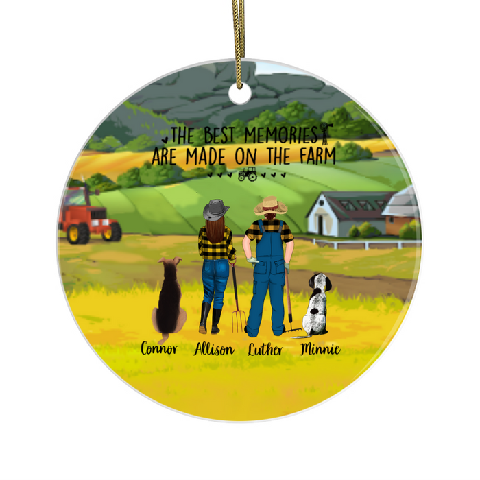 Personalized Ornament, Farming Couple and Dogs Custom Gift for Christmas