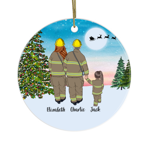 Personalized Ornament, Firefighter Parents And Kid Gift For Christmas