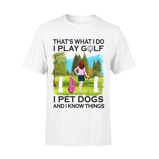 Personalized Shirt, Golf Woman with Dogs Custom Gift For Dog and Golf Lovers