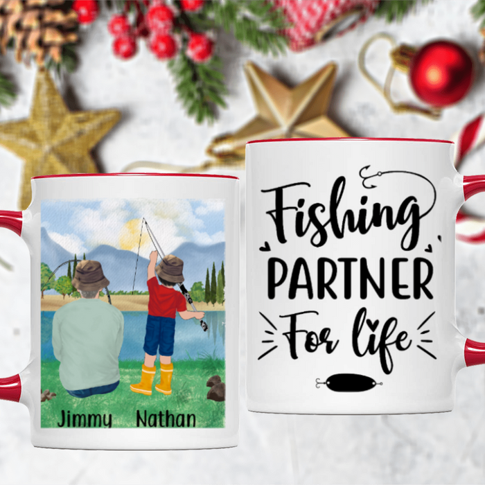 Personalized Accent Mug, Fishing Man and Standing Kid Gifts for Fishing Lovers