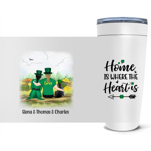 Personalized Tumbler - St Patrick Day Couple And Dogs Custom Gifts For Dog Lovers