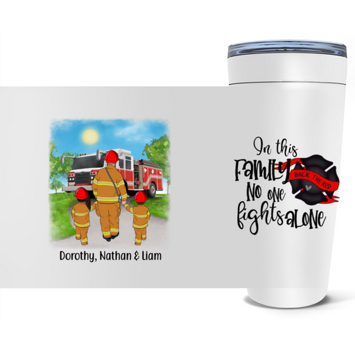 Personalized Tumbler, Firefighter Parents and Kids Custom Gift For Family