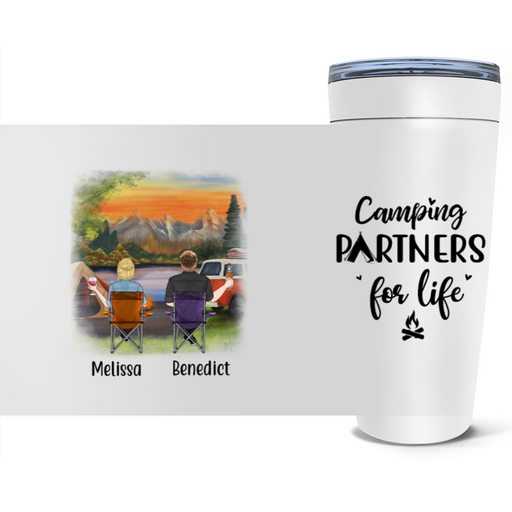 Personalized Tumbler, Camping Chair Couple and Friends Custom Gift For Camping Lovers