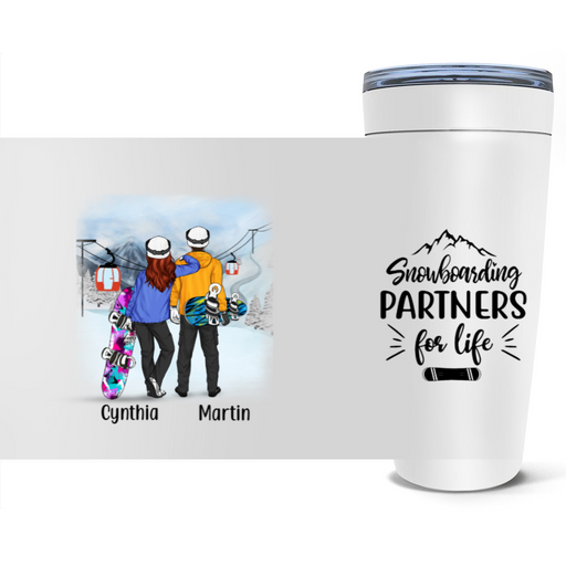 Personalized Tumbler - Snowboarding Couple and Friends Custom Gift For Snowboarding Lovers