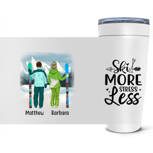 Personalized Tumbler - Skiing Couple and Friends Custom Gift For Skiing Lovers