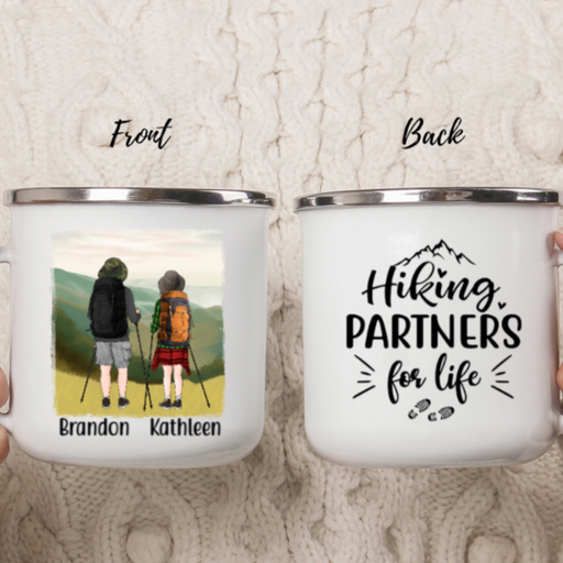 Custom Enamel Camping Mug, Campfire Mug, Personalized Hiking Gifts For Friends, Couple, Hikers