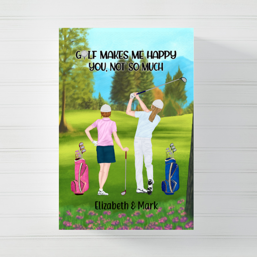 Personalized Canvas/Poster, Golf Couple and Friends New Gift For Golf Lovers