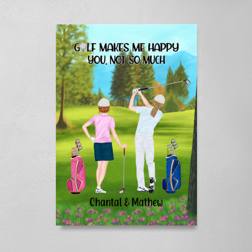 Personalized Canvas/Poster, Golf Couple and Friends Gift For Golf Lovers