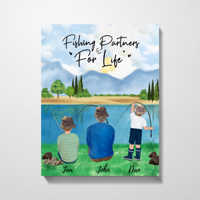 Custom Fishing Family Canvas personalized gift