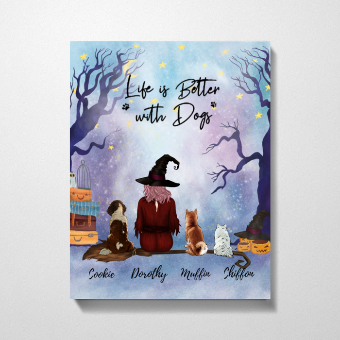 Custom Halloween Girl with Dogs Canvas Personalized Gift for Dog Lovers
