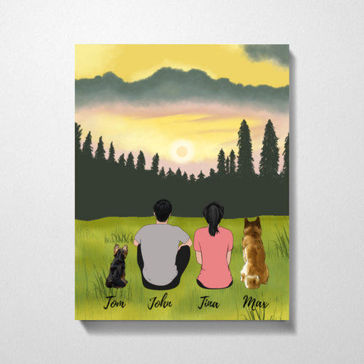 Couple And Dogs On Glass Premium Canvas