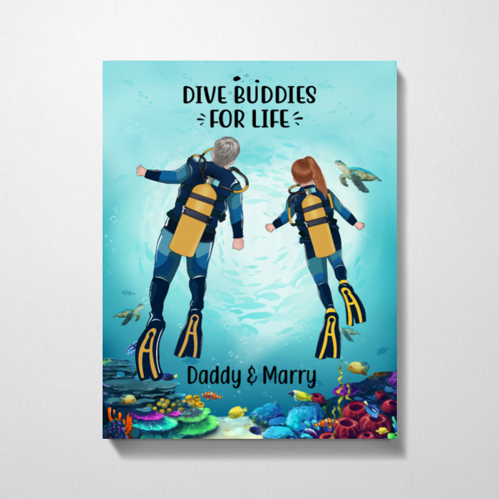 Custom Canvas Father and Kid Dive Buddies For Life Scuba Diving Gifts