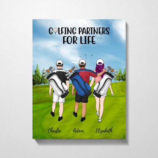 Personalized Premium Canvas - Two Men And Girl Golf Gift for Golf Lovers