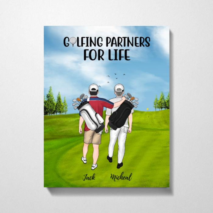 Personalized Canvas, Golf Same Sex Couple And Friends Gift for Golf Lovers