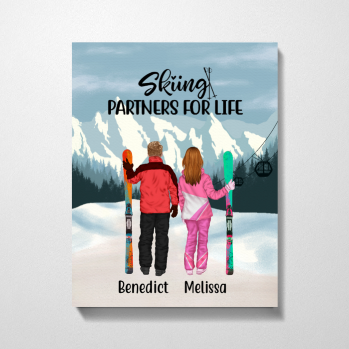 Personalized Canvas - Skiing Couple and Friends Custom Gift For Skiing Lovers