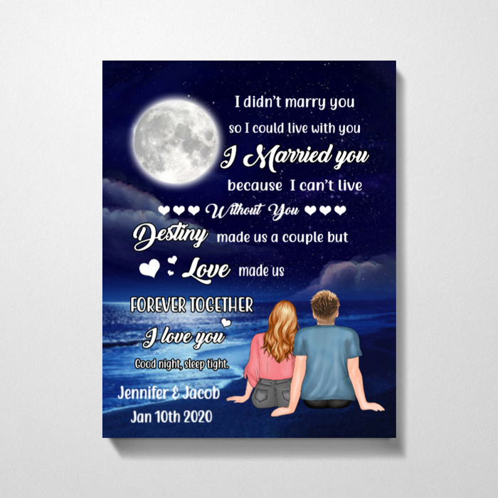 Personalized Canvas, Couple On The Beach At Night Gift For Husband Wife