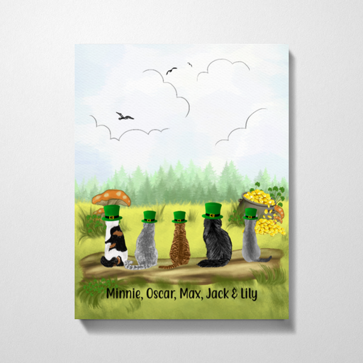 Personalized Premium Canvas - Up to Five Cats Happy St Patrick's Day For Cat Lovers