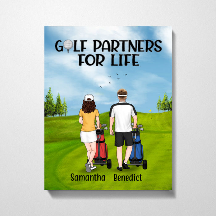 Personalized Canvas - Golf Pushing Cart Couple And Friends Custom Gift For Golf Lovers