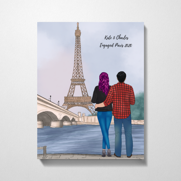 Couple In Paris Premium Canvas