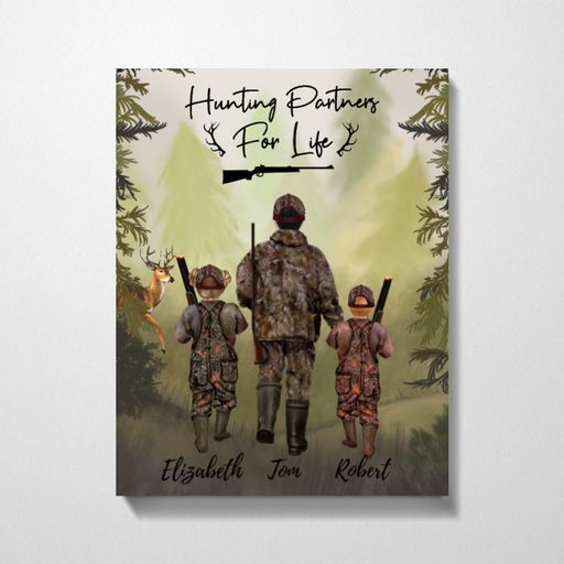 Custom Man & Two Kids Hunting Canvas