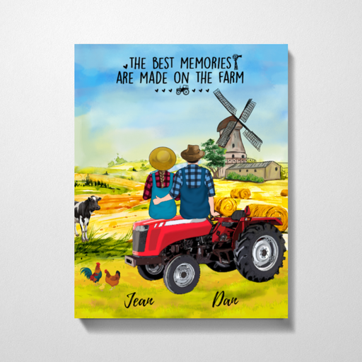 Custom Farmer Couple On Tractor Personalized Premium Canvas Gift For Farmers