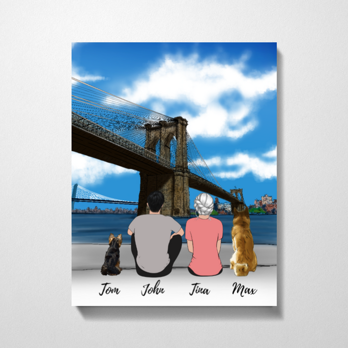 Couple And Dogs At Brooklyn Brigde Premium Canvas