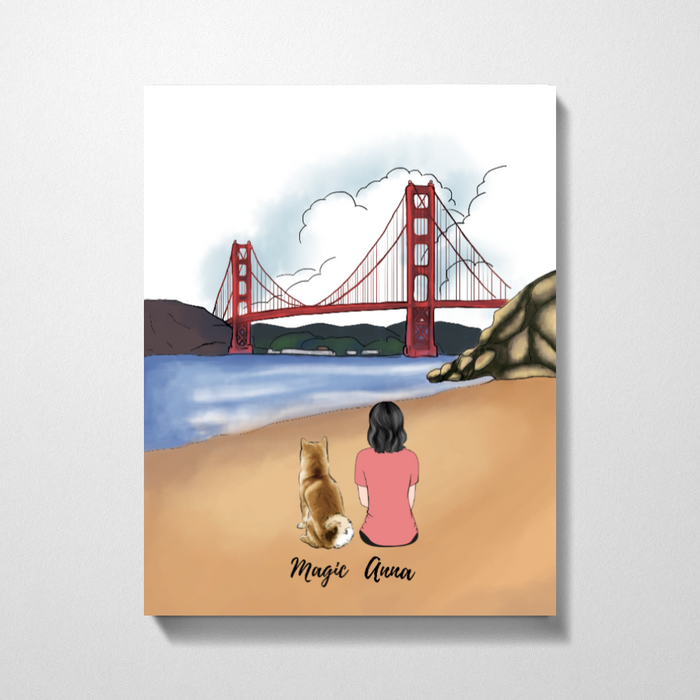 Custom Golden Gate Bridge Woman and Dogs Premium Canvas