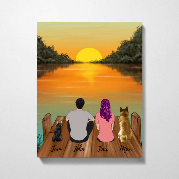 Couple On River And Dogs Premium Canvas