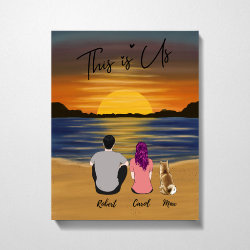 Couple At Sunset Beach Customized Premium Canvas