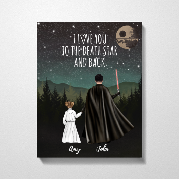Custom Love To The Death Star Personalized Premium Canvas Gifts For Father Daughter