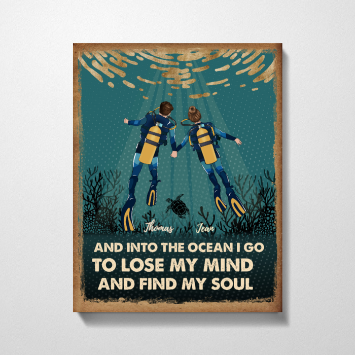 Custom Scuba Diving Couple Personalized Premium Canvas Gift For Diving Lovers