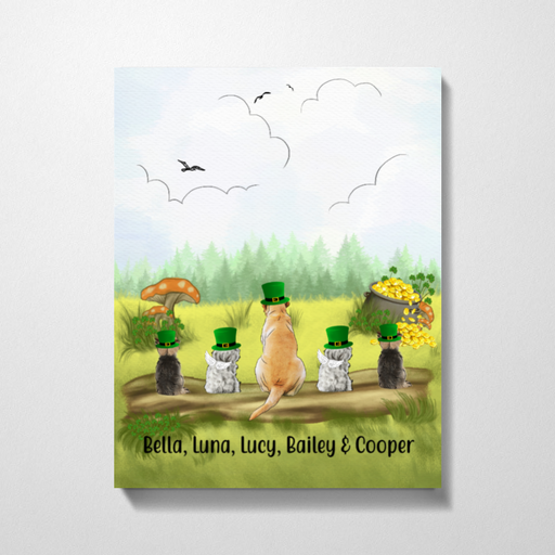 Personalized Premium Canvas - Up to Five Dogs Happy St Patrick's Day For Dog Lovers