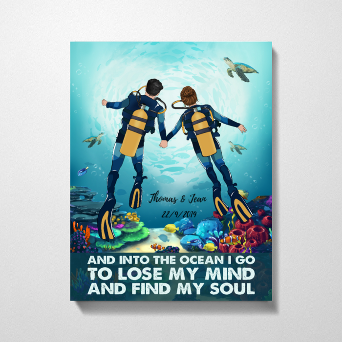 Custom Scuba Diving Couple In To The Ocean Personalized Premium Canvas Gift For Diving Lovers