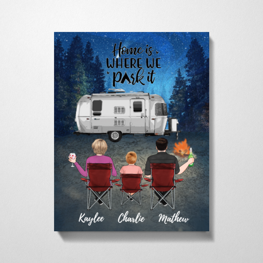 Personalized Canvas, Camping Family Sitting On Chair Gift For Campers