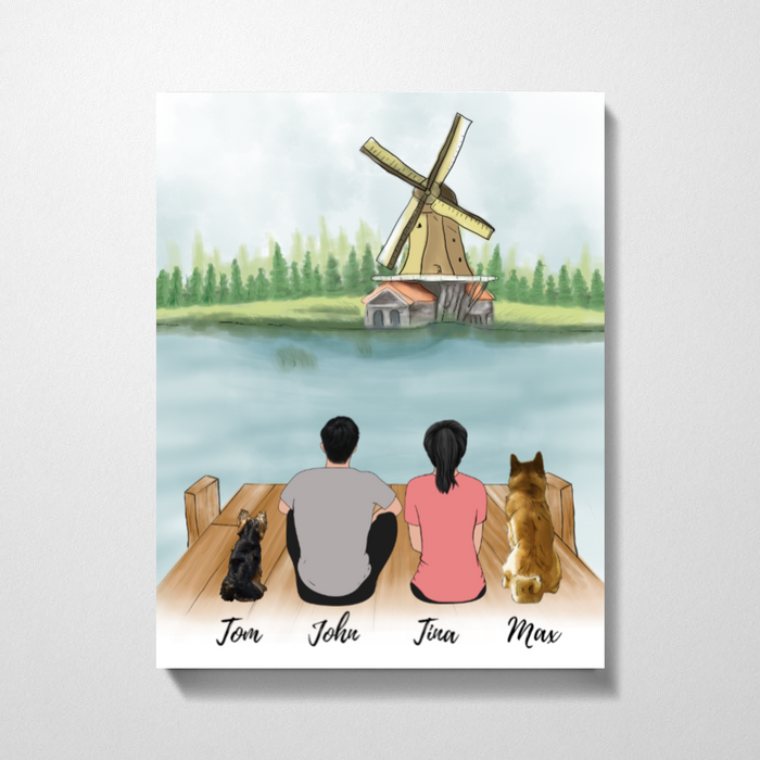 Couple And Dogs Windmill Premium Canvas