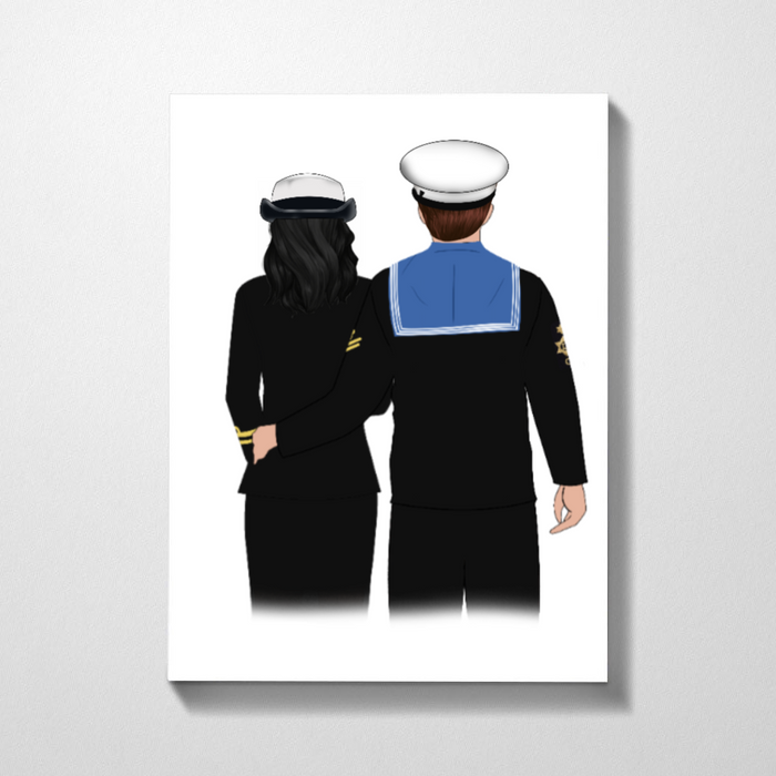 Navy Couple Customized Premium Canvas