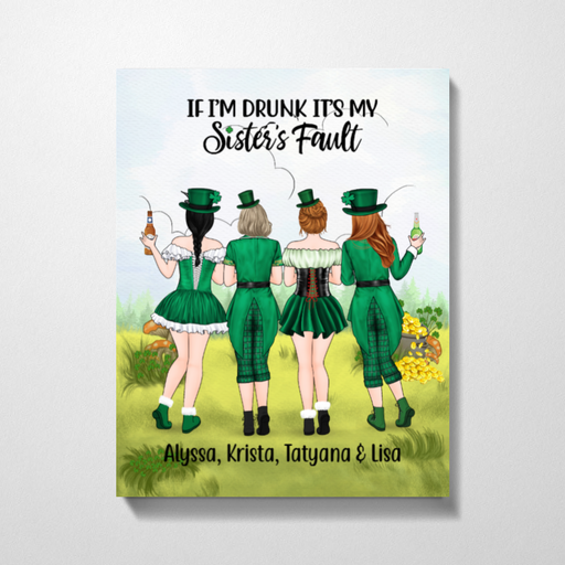 Personalized Canvas- St Patrick's Day Girls Custom Gift For Sisters Best Friends
