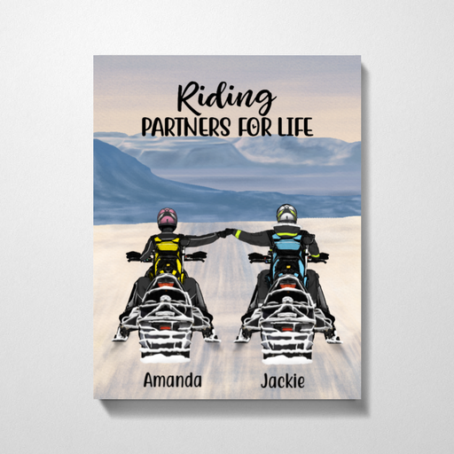 Personalized Canvas - Snowmobiling Partners Custom Gifts For Snowmobile Lovers