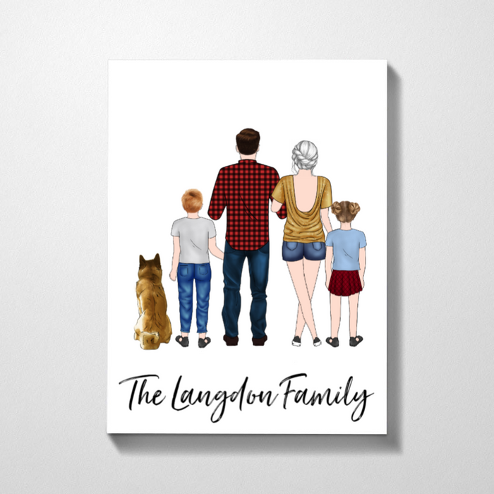 Custom Family And Dog Personalized Premium Canvas Gifts For Family Lovers