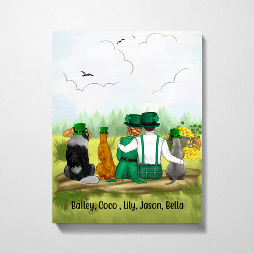 Personalized Canvas - St Patrick's Day Couple And Dogs Custom Gift For Dog Lovers