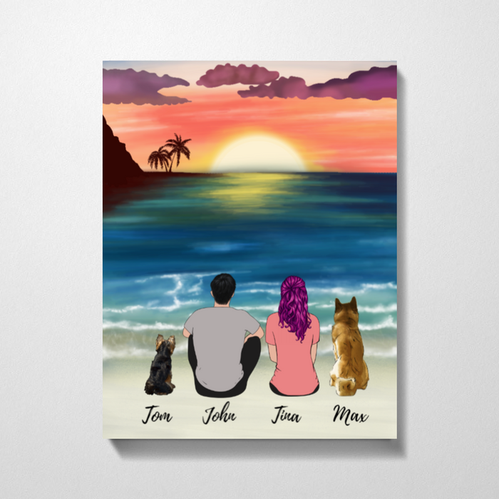 Rising Sun Couple And DogsPremium Canvas