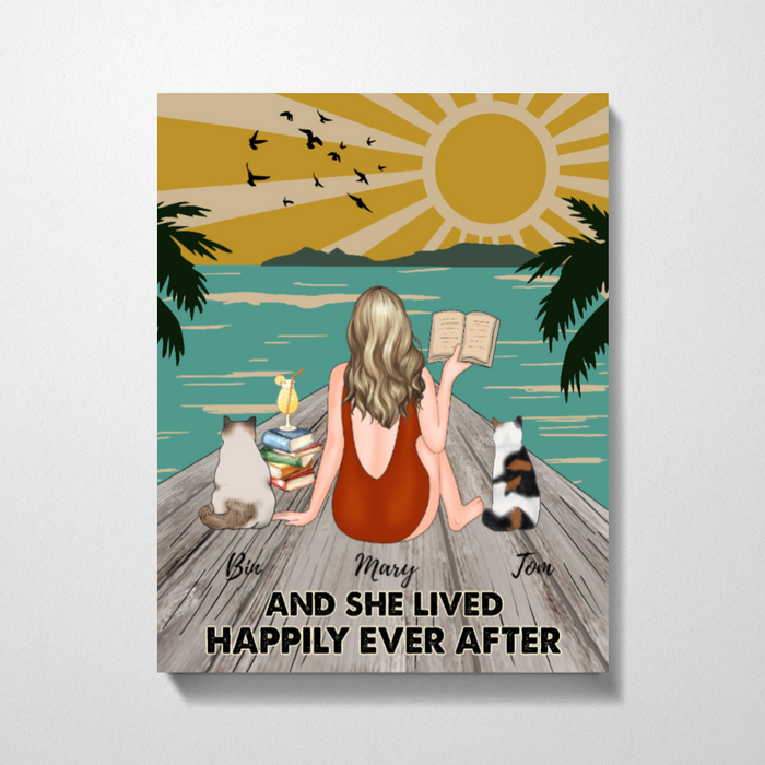 Custom Reading Girl On Beach And Cats Personalized Premium Canvas Gift For Book Worms Cats Lovers
