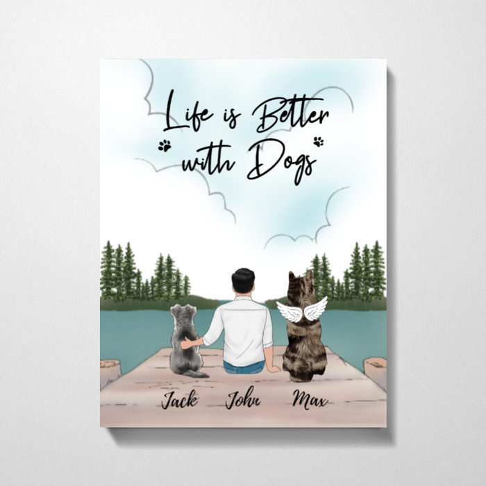 Custom Man And Dogs Premium Canvas Personalized Gift For Dog Lovers