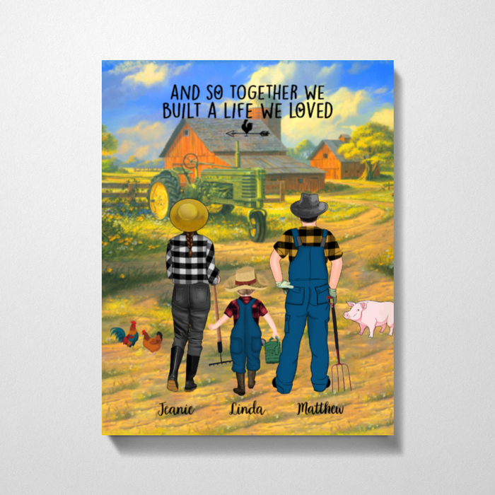 Personalized Canvas -  Farming Couple And Kids Gift For Farmers