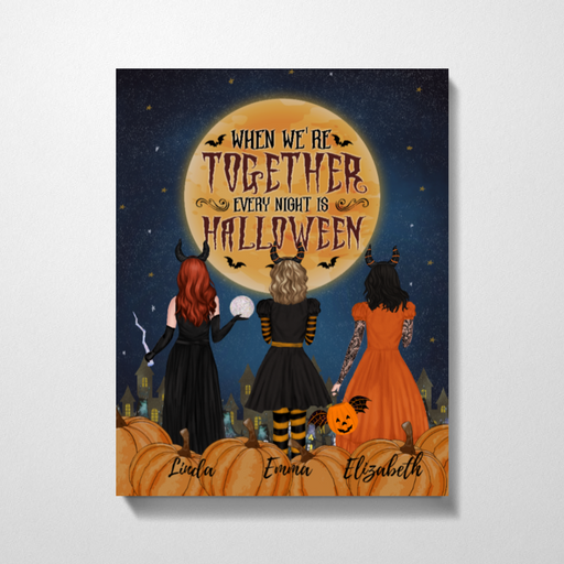 Custom Witch Sisters Premium Canvas Personalized Gift For Halloween