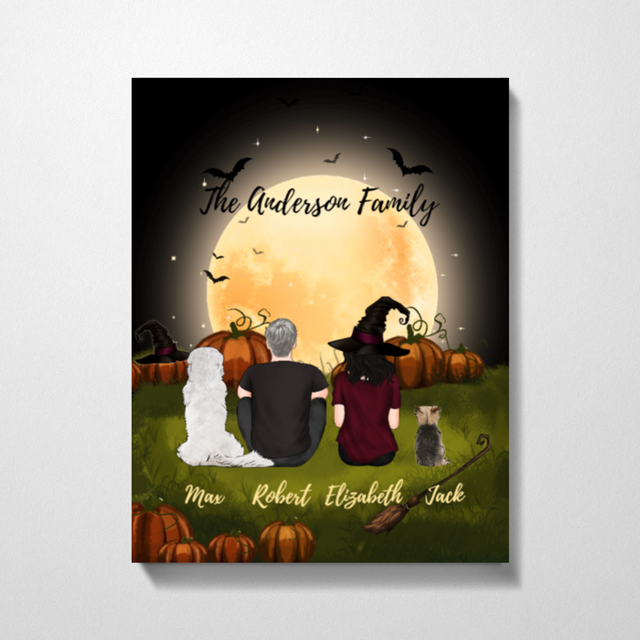 Custom Halloween Couple Dogs Lover Premium Canvas Personalized Gift For Halloween