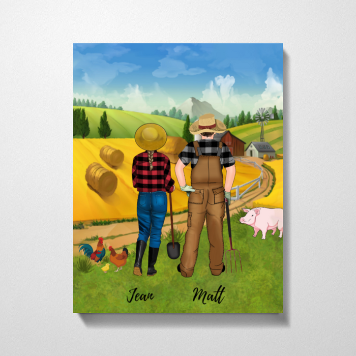 Custom Farming Couple Standing Personalized Premium Canvas Gift For Farmers