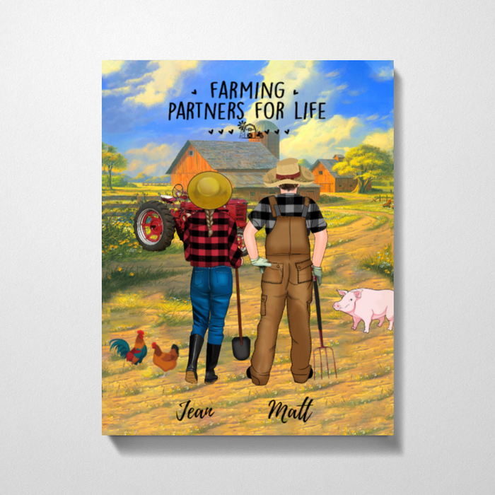 Personalized Canvas -  Farming Partners For Life With Tractor Changeable Gift For Farmers