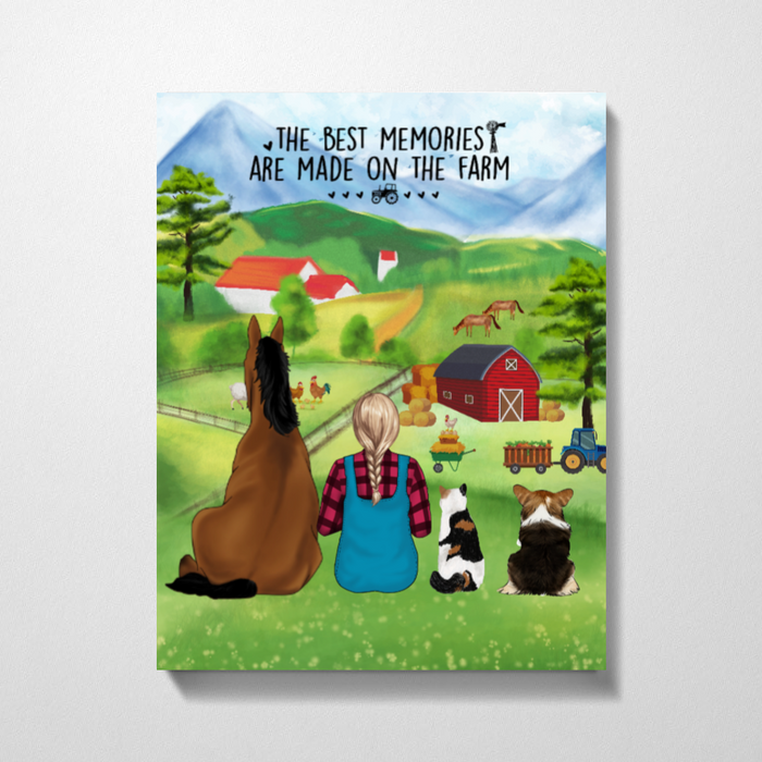 Personalized Canvas - Girl with Horse, Cat and Dog Custom Gift for Farming Lovers
