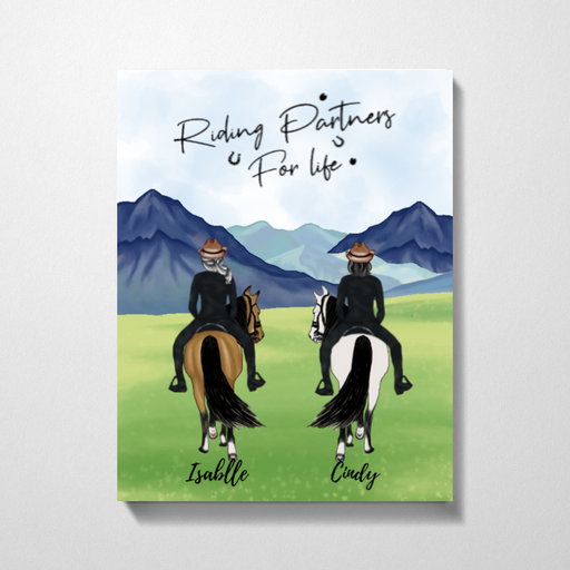 Riding Horse Together Customized Premium Canvas